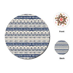 Native American Ornaments Watercolor Pattern Blue Playing Cards (round)
