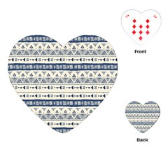 Native American Ornaments Watercolor Pattern Blue Playing Cards (heart)  by EDDArt
