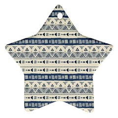 Native American Ornaments Watercolor Pattern Blue Star Ornament (two Sides) by EDDArt