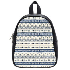 Native American Ornaments Watercolor Pattern Blue School Bag (small)