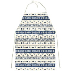 Native American Ornaments Watercolor Pattern Blue Full Print Aprons