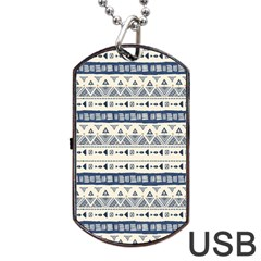 Native American Ornaments Watercolor Pattern Blue Dog Tag Usb Flash (one Side) by EDDArt