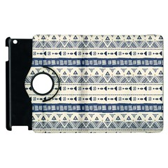 Native American Ornaments Watercolor Pattern Blue Apple Ipad 3/4 Flip 360 Case by EDDArt