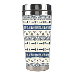 Native American Ornaments Watercolor Pattern Blue Stainless Steel Travel Tumblers by EDDArt