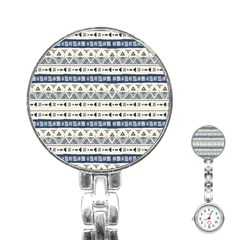 Native American Ornaments Watercolor Pattern Blue Stainless Steel Nurses Watch by EDDArt