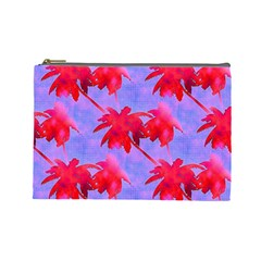 Palm Trees Neon Nights Cosmetic Bag (large)