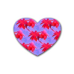 Palm Trees Neon Nights Rubber Coaster (heart)