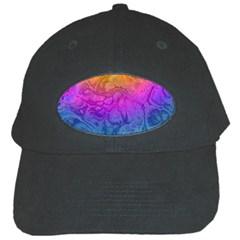 Fractal Batik Art Hippie Rainboe Colors 1 Black Cap by EDDArt