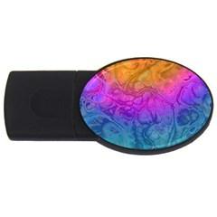 Fractal Batik Art Hippie Rainboe Colors 1 Usb Flash Drive Oval (2 Gb)