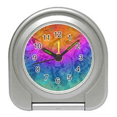 Fractal Batik Art Hippie Rainboe Colors 1 Travel Alarm Clock by EDDArt