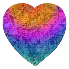 Fractal Batik Art Hippie Rainboe Colors 1 Jigsaw Puzzle (heart) by EDDArt