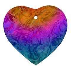 Fractal Batik Art Hippie Rainboe Colors 1 Heart Ornament (two Sides) by EDDArt