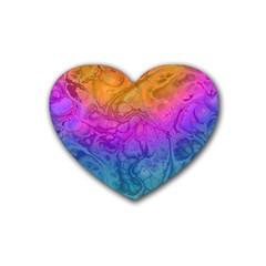 Fractal Batik Art Hippie Rainboe Colors 1 Rubber Coaster (heart)