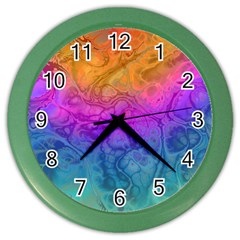 Fractal Batik Art Hippie Rainboe Colors 1 Color Wall Clock by EDDArt