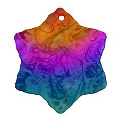 Fractal Batik Art Hippie Rainboe Colors 1 Snowflake Ornament (two Sides) by EDDArt