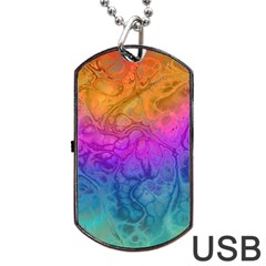 Fractal Batik Art Hippie Rainboe Colors 1 Dog Tag Usb Flash (one Side) by EDDArt