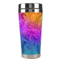 Fractal Batik Art Hippie Rainboe Colors 1 Stainless Steel Travel Tumblers by EDDArt