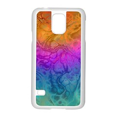 Fractal Batik Art Hippie Rainboe Colors 1 Samsung Galaxy S5 Case (white) by EDDArt