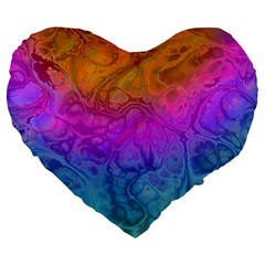 Fractal Batik Art Hippie Rainboe Colors 1 Large 19  Premium Flano Heart Shape Cushions by EDDArt