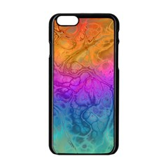 Fractal Batik Art Hippie Rainboe Colors 1 Apple Iphone 6/6s Black Enamel Case by EDDArt