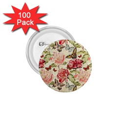 Watercolor Vintage Flowers Butterflies Lace 1 1 75  Buttons (100 Pack)  by EDDArt