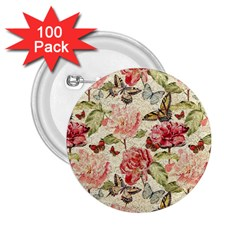 Watercolor Vintage Flowers Butterflies Lace 1 2 25  Buttons (100 Pack)  by EDDArt