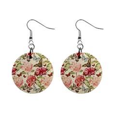 Watercolor Vintage Flowers Butterflies Lace 1 Mini Button Earrings by EDDArt