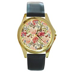Watercolor Vintage Flowers Butterflies Lace 1 Round Gold Metal Watch