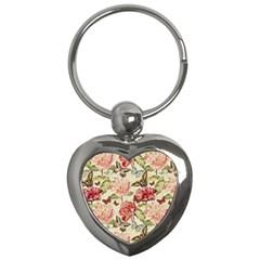 Watercolor Vintage Flowers Butterflies Lace 1 Key Chains (heart)  by EDDArt