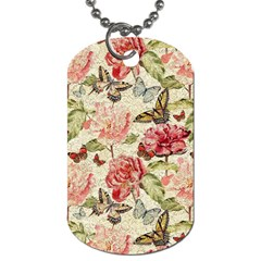 Watercolor Vintage Flowers Butterflies Lace 1 Dog Tag (two Sides)