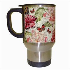 Watercolor Vintage Flowers Butterflies Lace 1 Travel Mugs (white) by EDDArt