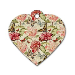 Watercolor Vintage Flowers Butterflies Lace 1 Dog Tag Heart (one Side) by EDDArt