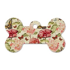 Watercolor Vintage Flowers Butterflies Lace 1 Dog Tag Bone (one Side)