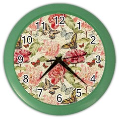 Watercolor Vintage Flowers Butterflies Lace 1 Color Wall Clock by EDDArt
