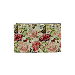 Watercolor Vintage Flowers Butterflies Lace 1 Cosmetic Bag (small)