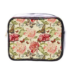Watercolor Vintage Flowers Butterflies Lace 1 Mini Toiletries Bags