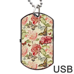 Watercolor Vintage Flowers Butterflies Lace 1 Dog Tag Usb Flash (one Side) by EDDArt