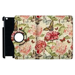 Watercolor Vintage Flowers Butterflies Lace 1 Apple Ipad 3/4 Flip 360 Case by EDDArt