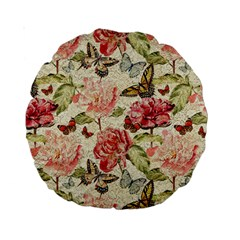 Watercolor Vintage Flowers Butterflies Lace 1 Standard 15  Premium Round Cushions by EDDArt
