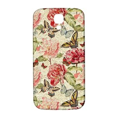 Watercolor Vintage Flowers Butterflies Lace 1 Samsung Galaxy S4 I9500/i9505  Hardshell Back Case by EDDArt
