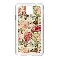 Watercolor Vintage Flowers Butterflies Lace 1 Samsung Galaxy Note 3 N9005 Case (white) by EDDArt