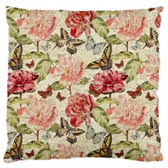 Watercolor Vintage Flowers Butterflies Lace 1 Large Flano Cushion Case (one Side) by EDDArt