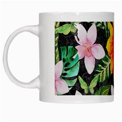 Tropical Flowers Butterflies 1 White Mugs by EDDArt