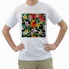 Tropical Flowers Butterflies 1 Men s T Shirt (white) (two Sided)