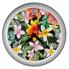 Tropical Flowers Butterflies 1 Wall Clock (silver)