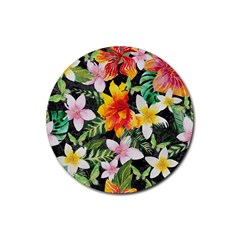 Tropical Flowers Butterflies 1 Rubber Round Coaster (4 Pack)