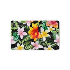 Tropical Flowers Butterflies 1 Magnet (name Card) by EDDArt