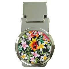 Tropical Flowers Butterflies 1 Money Clip Watches