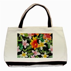 Tropical Flowers Butterflies 1 Basic Tote Bag