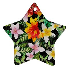 Tropical Flowers Butterflies 1 Star Ornament (two Sides) by EDDArt